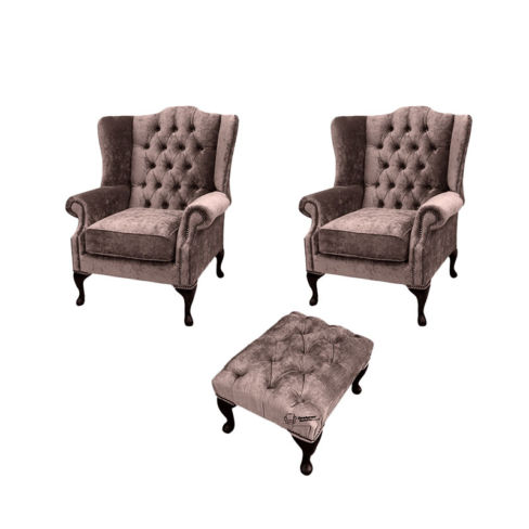 Chesterfield 2 x Mallory Wing chairs + Footstool Harmony Charcoal Velvet Sofa Suite Offer