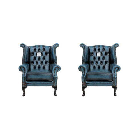 Chesterfield 2 x Queen anne Chairs Leather Sofa Suite Offer Antique blue