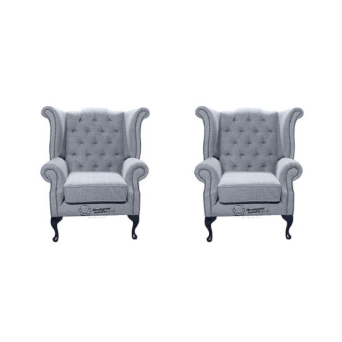 Chesterfield 2 x Queen Anne Chairs Verity Plain Steel Fabric Sofa Suite Offer