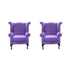 Chesterfield 2 x Queen Anne Chairs Verity Purple Fabric Sofa Suite Offer