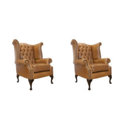 Chesterfield 2 x Queen Anne Chairs Old English Tan Leather Sofa Offer