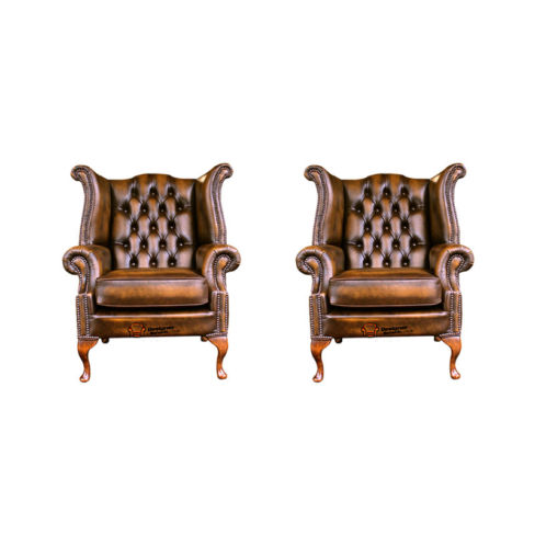 Chesterfield 2 x Queen anne Chairs Leather Sofa Suite Offer Antique Gold