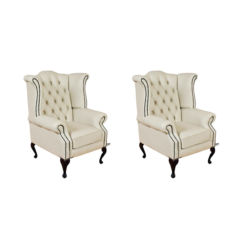 Chesterfield 2 x Queen anne Chairs Leather Sofa Suite Offer Cottonseed Cream