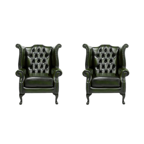 Chesterfield 2 x Queen anne Chairs Leather Sofa Suite Offer Antique Green
