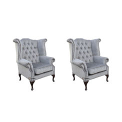 Chesterfield 2 x Queen Anne Chairs Perla Illusions Velvet Sofa Suite Offer