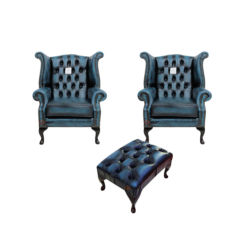 Chesterfield 2 x Queen anne Chairs+footstool Leather Sofa Suite Offer Antique blue