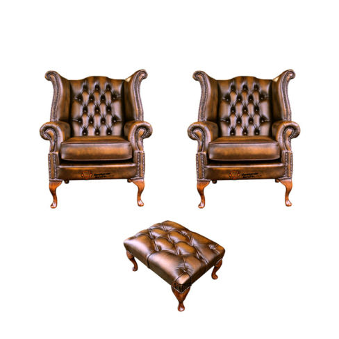 Chesterfield 2 x Queen anne Chairs+footstool Leather Sofa Suite Offer Antique Gold