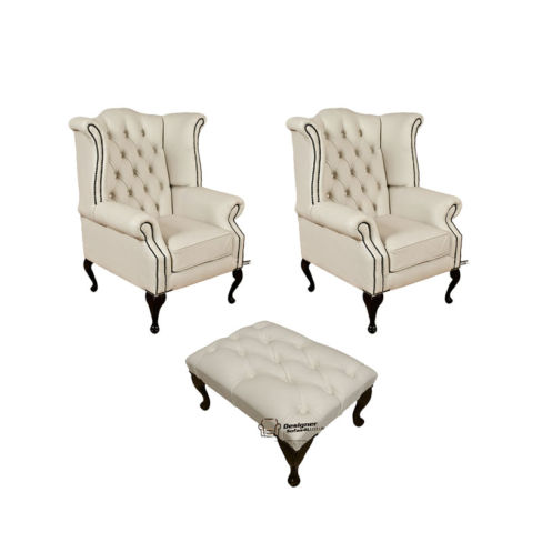 Chesterfield 2 x Queen anne Chairs+footstool Leather Sofa Suite Offer Ivory