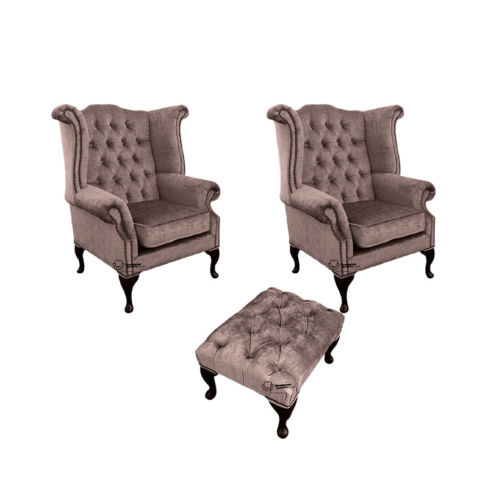 Chesterfield 2 x Queen Anne Chairs + Footstool Harmony Charcoal Velvet Sofa Suite Offer