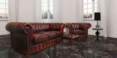 Red Chesterfield Leather Oxblood Sofa 3+Club+Footstool