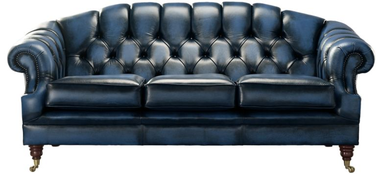 Chesterfield Victoria 3 Seater Leather Sofa Settee Antique Blue Leather
