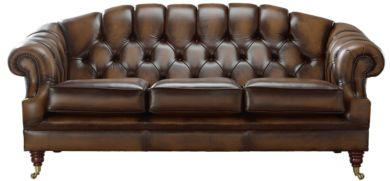 Chesterfield Victoria 3 Seater Leather Sofa Settee Antique Autumn Tan Leather