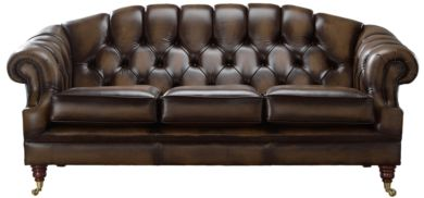 Chesterfield Victoria 3 Seater Leather Sofa Settee Antique Brown Leather