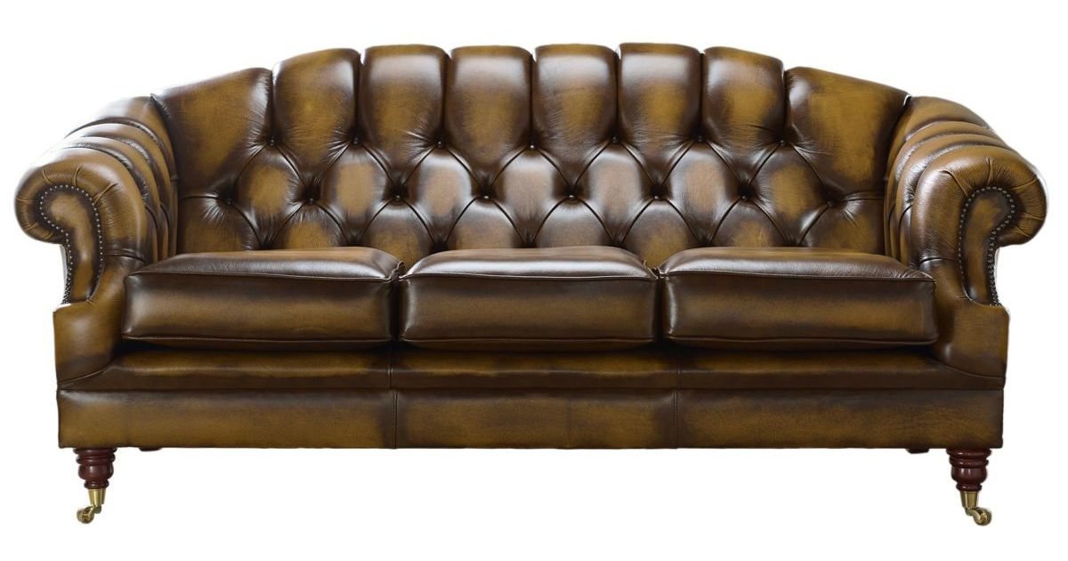 Gold Victoria 3 Seater Chesterfield Settee Designersofas4u