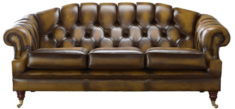 Chesterfield Victoria 3 Seater Leather Sofa Settee Antique Gold Leather