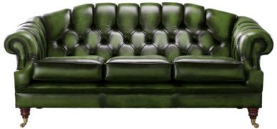 Chesterfield Victoria 3 Seater Leather Sofa Settee Antique Green Leather