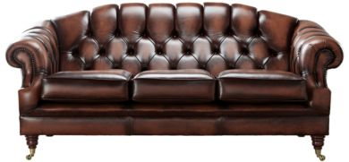 Chesterfield Victoria 3 Seater Leather Sofa Settee Antique Light Rust Leather