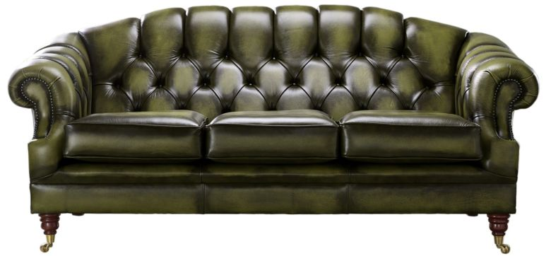 Chesterfield Victoria 3 Seater Leather Sofa Settee Antique Olive Leather