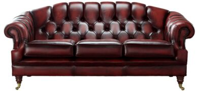 Chesterfield Victoria 3 Seater Leather Sofa Settee Antique Oxblood Leather