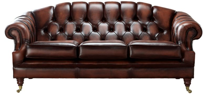 Chesterfield Victoria 3 Seater Leather Sofa Settee Antique Rust Leather
