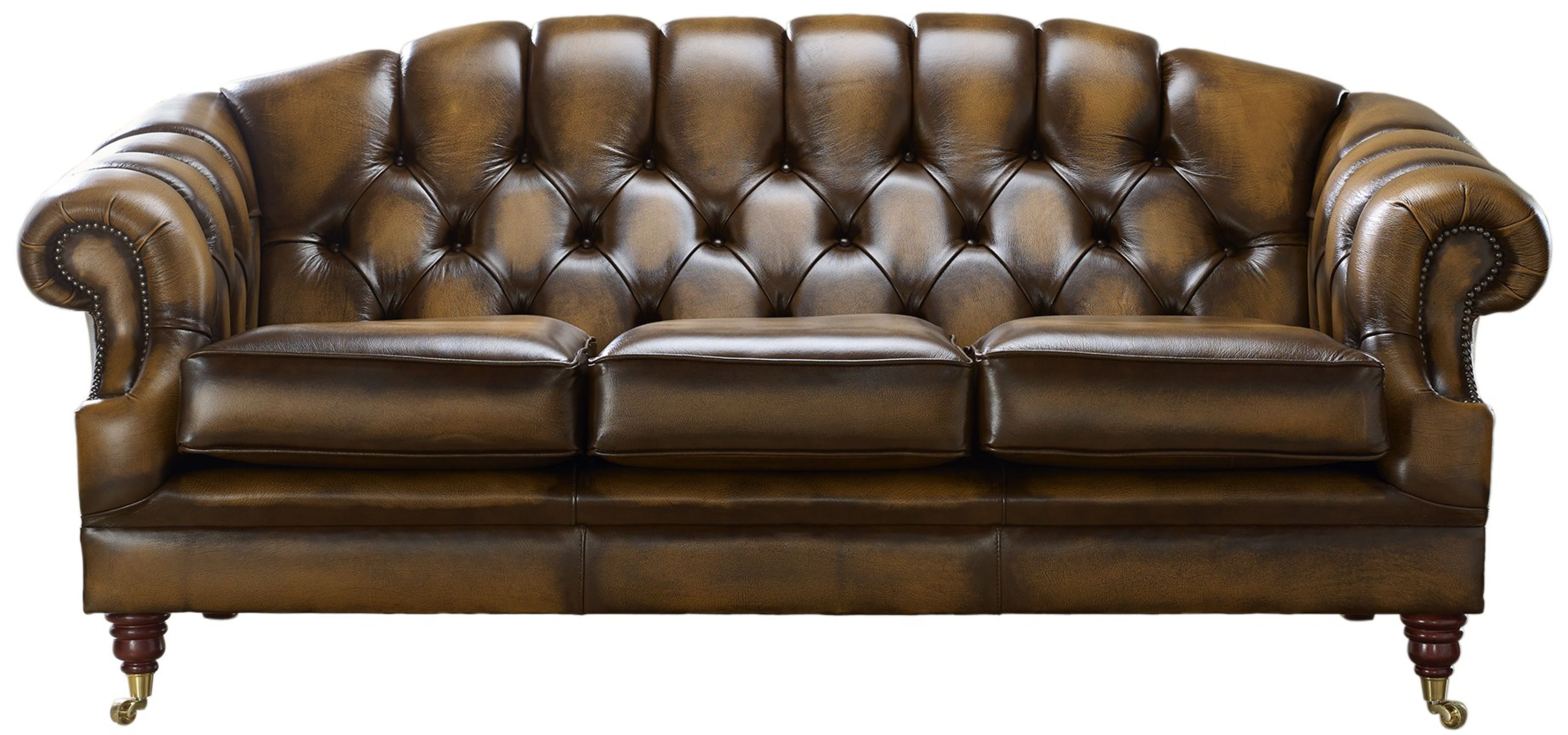 Chesterfield Victoria 3 Seater Leather Sofa Settee Antique Tan Leather