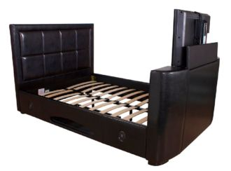 Andorra Kingsize TV Bedstead Black Faux Leather