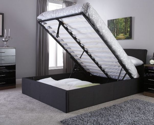 Ascot Double Black Fabric Storage Bedstead
