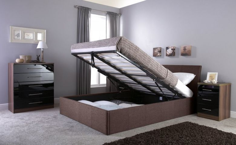 Ascot Double Brown Fabric Storage Bedstead