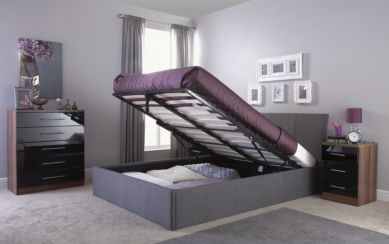 Ascot Kingsize Grey Fabric Storage Bedstead