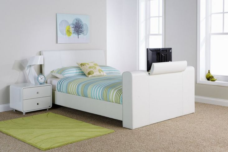 Brooklyn Pneumatic TV Bed 150cm White