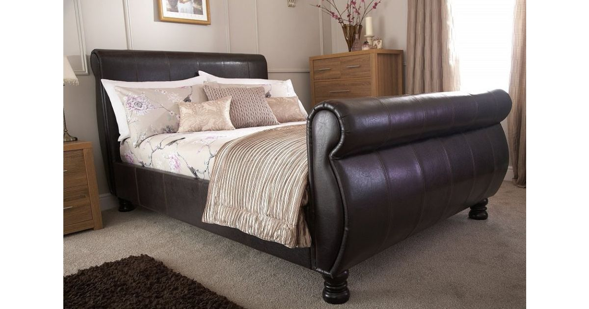 Chicago Sleigh 5 Kingsize Bed Brown, Ireland Queen Faux Leather Bed Black