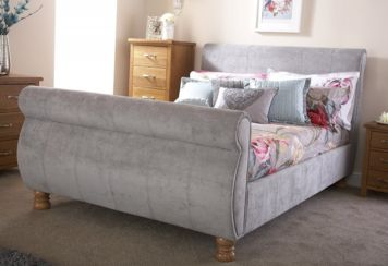 "Chicago Sleigh 4'6"" Double Bed Grey Fabric"