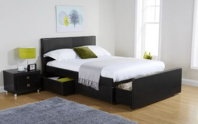 Colorado Double Drawer Storage Bed Available In Black Or Brown Faux Leather