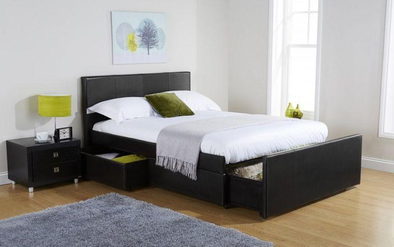 Colorado Kingsize Drawer Storage Bed Available In Black Or Brown Faux Leather