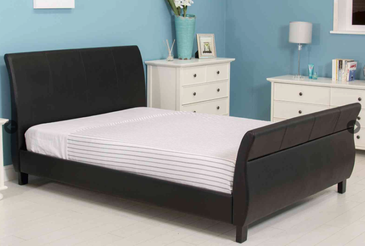 Dante Kingsize Bed Black Faux Leather Bed