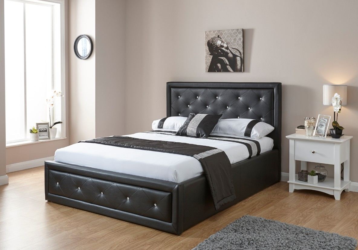 Hollywood Diamante Double Ottoman Storage Bed Black Faux Leather