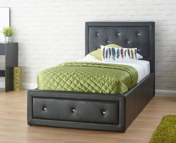 Hollywood Diamante Single Ottoman Storage Bed Black Faux Leather