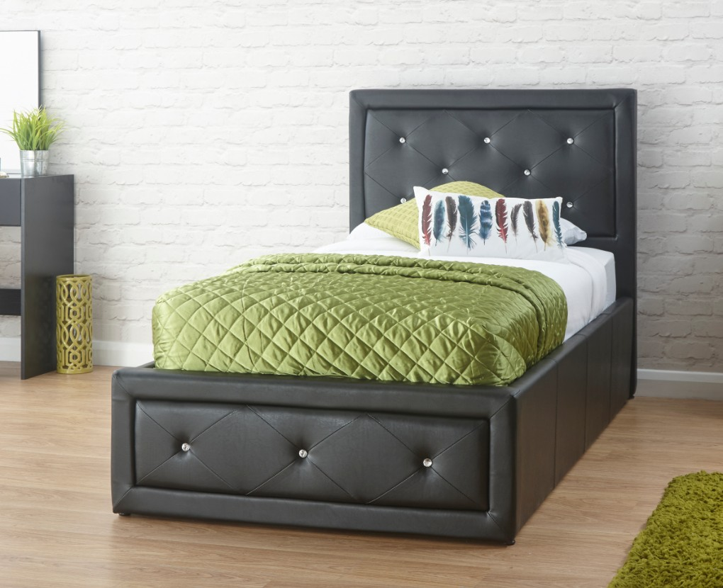 a36cd3b8f486 Hollywood Diamante Single Ottoman Storage Bed Black Faux Leather