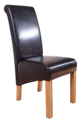 6 x Hudson Roll Top Dining Chairs Black Faux Leather