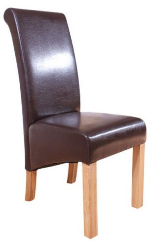 6 x Hudson Roll Top Dining Chairs Brown Faux Leather