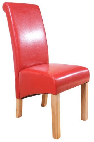 6 x Hudson Roll Top Dining Chairs Red Faux Leather