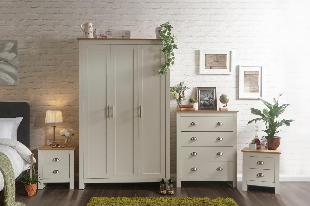 Lancaster 4 Piece Bedroom Wardrobe Set in Cream Colour