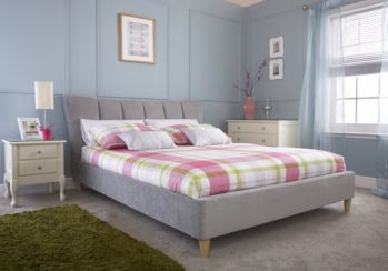 Luciana Double Silver Grey Fabric Upholstered Bed