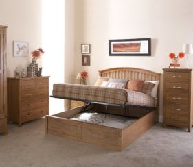 Madrid Double Ottoman Storage Bed Natural Oak