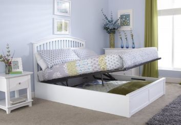 Madrid Double Ottoman Storage Bed White