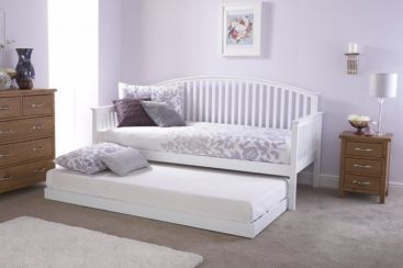 Madrid Day Bed With Trundle Bed White