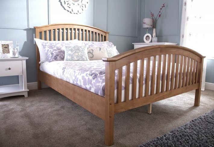 Madrid 4ft Small Double Wooden Bed Natural Oak High Foot End