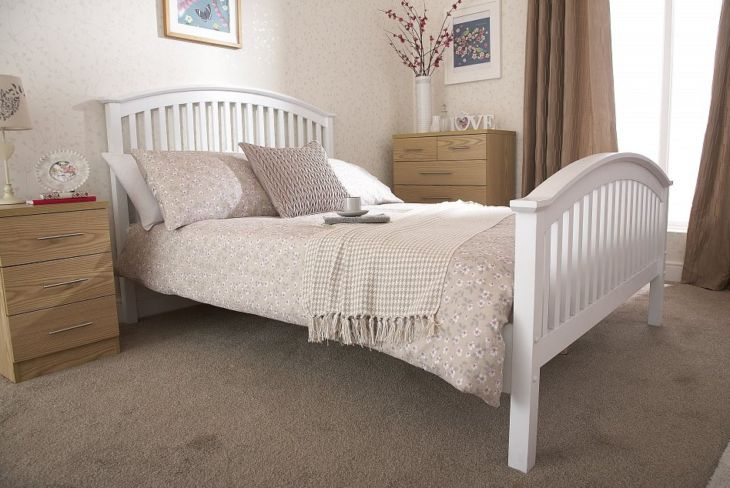 Madrid Double Wooden Bed White High Foot End