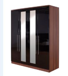 Modular High Gloss 4 Door Wardrobe With Mirror
