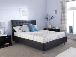 Naples Double Black Faux Leather Upholstered Bed